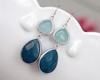 Navy Blue Earrings - Light and Dark Blue Earrings - Boho Earrings - Bezel Set Jade - Navy Earrings - Sterling Earwires - Gift for Her