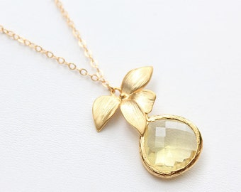 Yellow Necklace - Citrine Yellow Bridesmaid Necklace - Jonquil Citrine Yellow  Drop and Orchid, Wedding Jewelry, Bridesmaids Jewelry, Brida