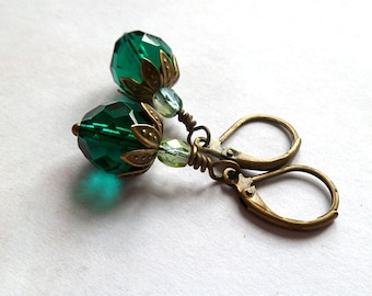 Teal earrings- vintage style- everyday glass and bronze- dangle drop-