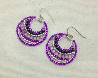 Purple Small Woven Beaded Colorful Earrings