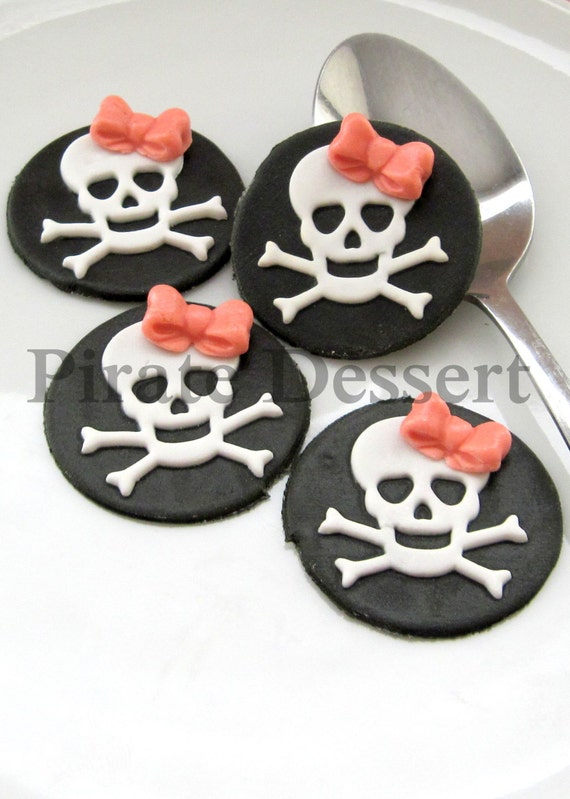 Edible Cake Decorations Skull : PIRATE GIRL Edible cupcake toppers Skull Sugar Coin