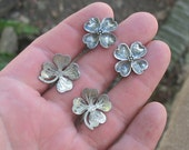 Vintage Sterling Screwback Earrings Stuart Nye? Asheville NC Dogwood & Shamrock Designs 2 Pairs 1950s