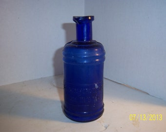 1890's S. S. Staffords Ink 5 7/8 inch Cobalt Blue Master Ink Bottle Desk School No 2
