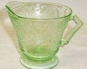 Hazel Atlas Depression Glass Green FLORENTINE Number 2 POPPY Number 2 Footed Creamer