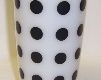 Hazel Atlas Milk White Tumbler with BLACK DOTS 5 Inch High Water Glass or Tumbler