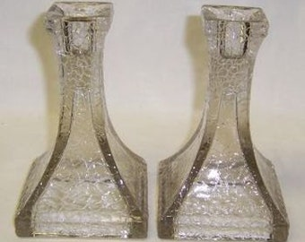 Federal Depression Glass Crystal JACK FROST CRACKLED 5 1/2 Inch High Candle Sticks, Pair