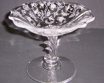 Fostoria Crystal CHINTZ Elegant Glass 4 1/2 Inch High Mint Comport