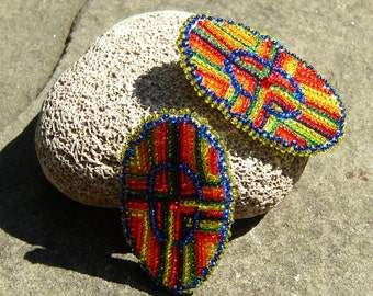 Maasai Tribal Beadwork Earrings, Stud or Clip