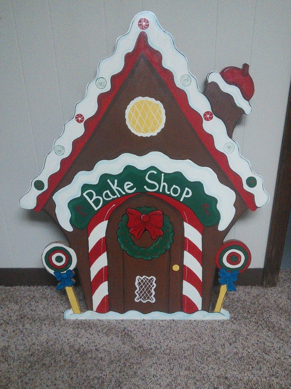 Christmas 3 piece gingerbread bake shop wood outdoor yard for Gingerbread house outdoor decorations