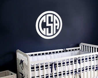 Circle Monogram Personalized Vinyl Wall Art Decal