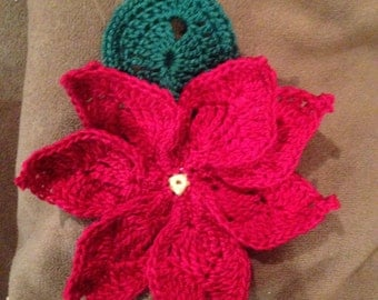 Crochet Christmas Flower Pointsettia 2 piece