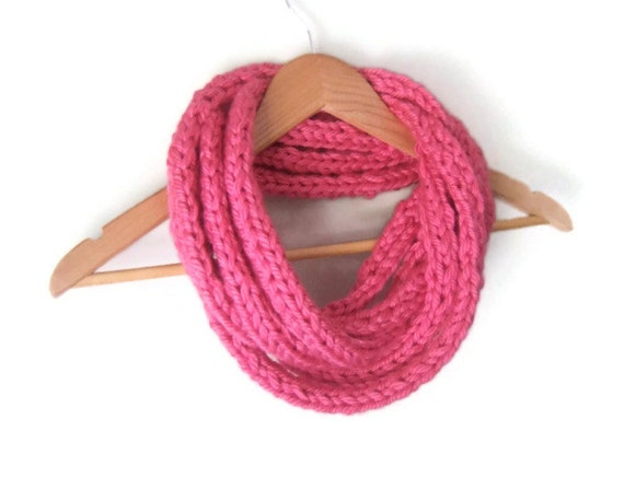 Hot Pink Scarf .. Bright Pink Scarf .. Neon Pink Scarf .. Handwoven Scarf .. Chunky Infinity Scarf .. Indie Clothing .. Eternity Scarf