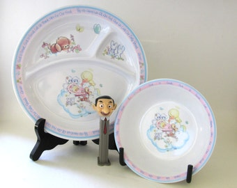 On Sale! New Year Discount Enesco Precious Moments Plate and Bowl Signed Sam B. 1987