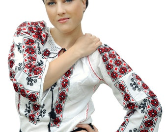 Romanian folk white blouse with red and black embroidery