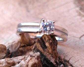 1/3 Kt Brilliant cut Diamond 14k White Gold Engagement Ring
