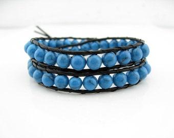 2 Wraps Turquoise Beaded Simulated Leather Wrap Bracelet