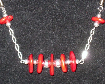 Seeing Red Coral, Suede & Silver Necklace
