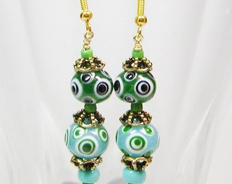 Polka Dot Lamp Work Earrings, Lamp Work Bead Earrings, Green Lamp Earrings, Dangle Earrings