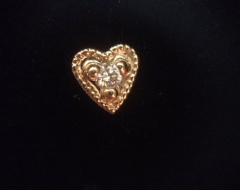 14K Yellow Tiny heart with diamond Accent nose pin