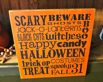 Primitive Halloween Subway Art Sign
