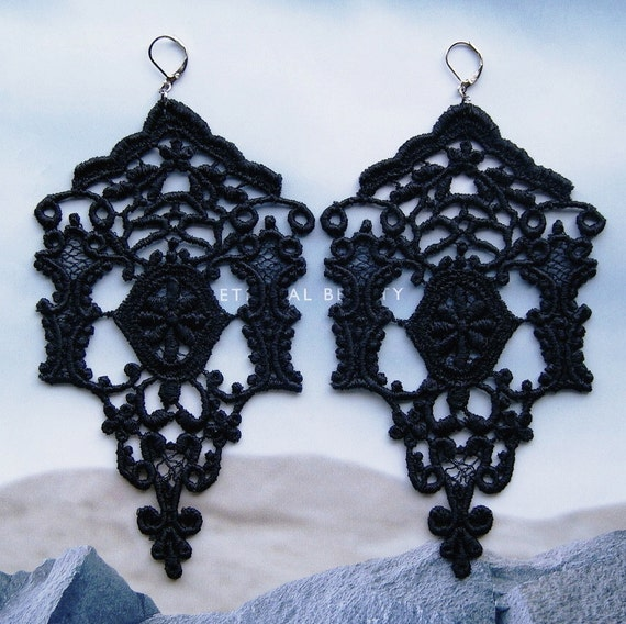 Chandelier Black Lace Earrings