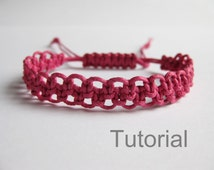 Pattern bracelet macrame pdf tutorial pink knotted adjustable clasp step by step beginner diy handmade jewelry instructions photo makrame