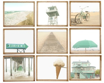 Mint Beach & Boardwalk - Set of 9 Photos Photographs Summer Ocean Shore Sand Sea Coastal Coast Sunshine Aqua Blue Sand Bike Umbrella