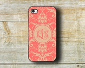 Monogrammed Iphone 6 case - Pretty iPhone 4s case - Fall fashion accessory - Damask iPhone 5c case - iPhone 5s case - Coral damask (9737)