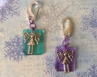 Glass Key Chain or Purse Fob Tibetan Silver Fairy Charm