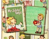 Back to School Printable, Instant Download, Digital Collage Sheet, Retro Vintage Kids, Scrapbooking, atc aceo
