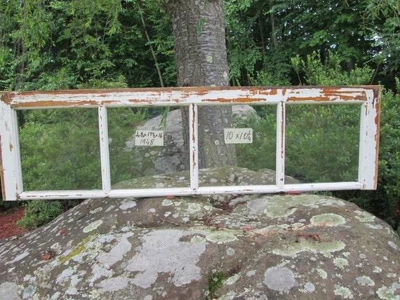 Vintage Window sash LARGE old 4 pane 48 x 16 from 1948