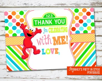 INSTANT DOWNLOAD - Elmo 4x6 Thank You Notes