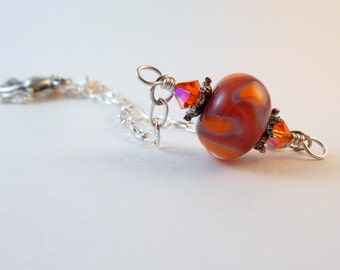 Fall Colored Flamework Necklace, Orange and Purple Lampwork Necklace, Autumn Lampwork Necklace, Orange and Silver Lampwork Necklace
