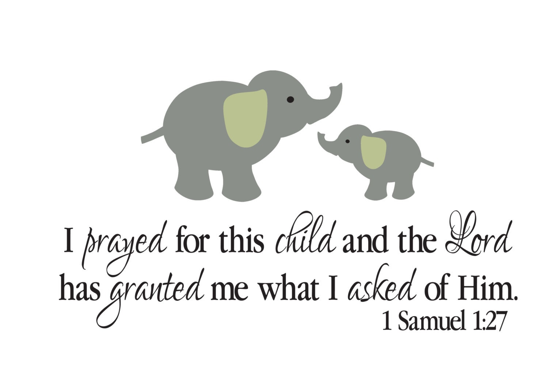 1 Samuel 1 27 Bible Scripture Verse Vinyl Decal Elephant