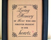 8 x 10 PRINT  Loved Ones/ Remembrance / In Loving Memory Of - Wedding Sign -Reunion- Single Sheet (Style: LOVING MEMORY)