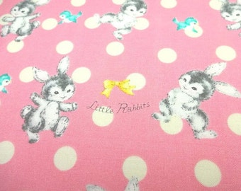 Japanese Fabric Little Rabbit Friends Pink