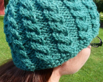 Teal Cable Knit Adult Hat
