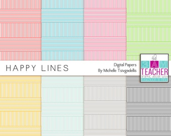 Digital Papers: Happy Lines Set