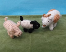 Knitted farm animal set