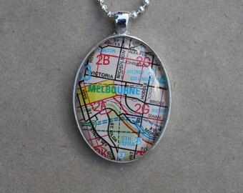 Melbourne City / Melbourne Maps - Shiny Silver Oval Pendant Necklace on 60cm Ball Chain