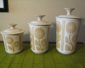 David Stewart for Lion's Valley - Studio Art Pottery Canister Jars Set of 3 - 1970s Daisy Sunflower Artisan Pottery