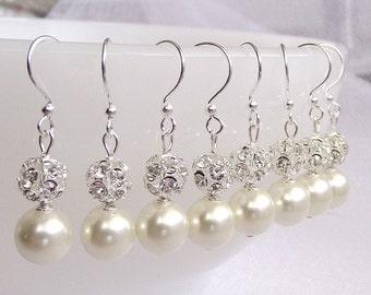 SET of 6 Wedding Bridesmaid Earrings, Bridesmaid Gift Jewelry, Pearl earrings, Bridesmaid jewelry, pearl bridesmaid earrings