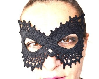 Pussycat Masquerade Mask , Elegant mask . Party accessory, Handmade Crochet mask,catwomen