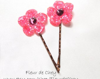 Two Glittered Round Blossom Bobby Pins with Crystal Center- Handmade Floral Headpiece for Hair