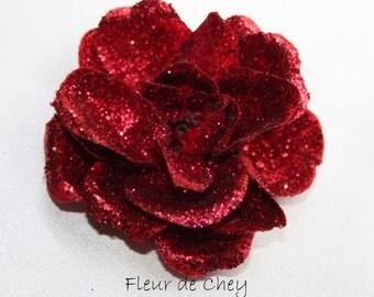 Glittered Rose Alligator Hair Clip- Handmade Floral Headpiece- Red Orange Plum Fuchsia Dance Wedding Bridesmaid Flower Girl