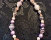 SALE Anklet (Small 9-9.5 inch) - Fair Trade Paper Beads (Mauve-Lilac Chunky)