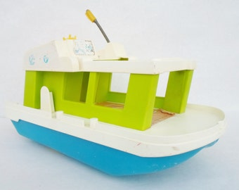 Vintage, Fisher Price, Happy, Houseboat, Toy, Boat, Child's, 1972, No. 985, Nautical, Green, White, Blue