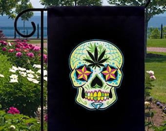 Sugar Skull Pot Leaf New Small Garden Flag, Day of Dead Goth