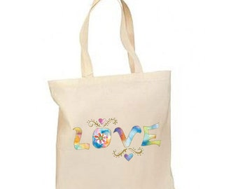 Glittery Pastel Love New Lightweight Cotton Tote Book Bag