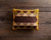 "Maya Temple - Gold / 14""x20""  Kilim Pillow"